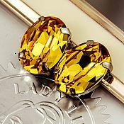 Материалы для творчества handmade. Livemaster - original item Crystals in frames Premium Oval 18h13 mm Topaz 4120 Yellow. Handmade.