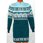 Одежда handmade. Livemaster - original item Sweater dress with a Norwegian ornament knitted White bear. Handmade.