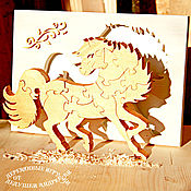 Puzzle handmade. Livemaster - original item Souvenirs and gifts from wood. Puzzles Gold Horse. Handmade.