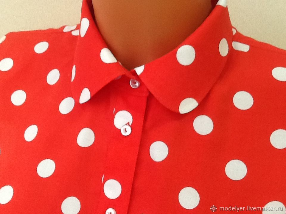 Shirt female / white dots on red, Blouses, Moscow,  Фото №1