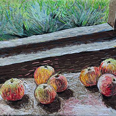 Картины и панно ручной работы. Ярмарка Мастеров - ручная работа Текстильное панно Яблоки на окне. Handmade.