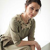 Одежда ручной работы. Ярмарка Мастеров - ручная работа Оливковое платье с пышной юбкой, рукавом по локоть и воротником. Handmade.