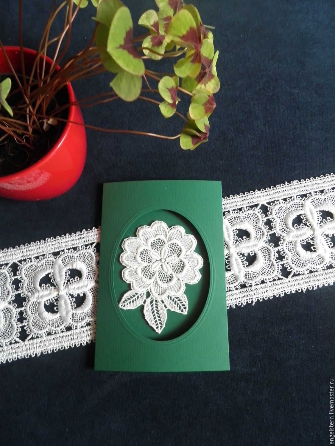 Lace Greeting Card White Color Green Shop Online On Livemaster