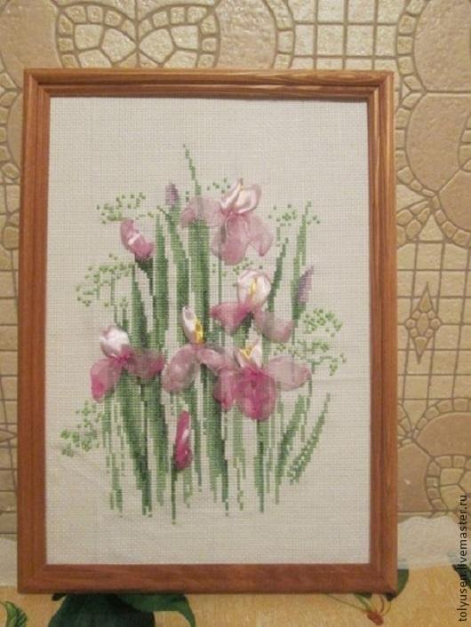 Картины цветов ручной работы. Ярмарка Мастеров - ручная работа. Купить Вышитая картина ИРИСЫ. Handmade. Вышитые цветы