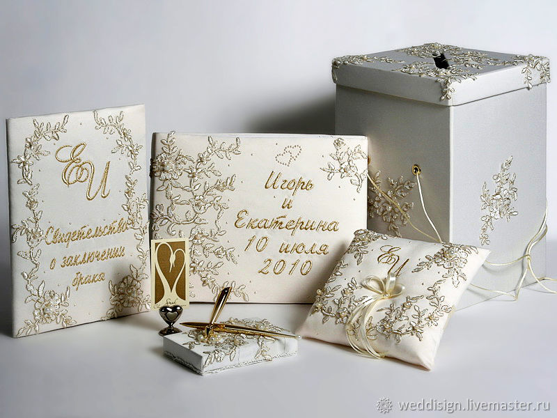 Personalized wedding collection with gold lace, Sets accessories, Moscow,  Фото №1