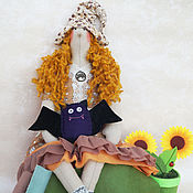Куклы и игрушки handmade. Livemaster - original item Tilda witch with brooch flying mouse. Decoration for Halloween!. Handmade.