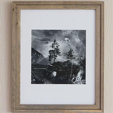 Картины и панно ручной работы. Ярмарка Мастеров - ручная работа Фотокартина на стену чб «Две лиственницы на озере Хинтерзее». Handmade.