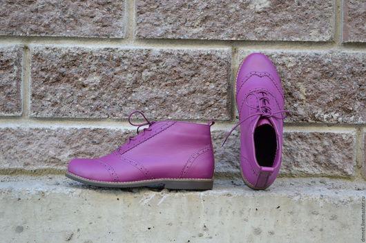 Обувь ручной работы. Ярмарка Мастеров - ручная работа. Купить Ботиночки цвета цикламен. Handmade. Фуксия, удобная обувь
