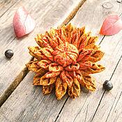 handmade. Livemaster - original item Brooch fabric flower Brooch, Bohemian Brooch for coat jacket. Handmade.