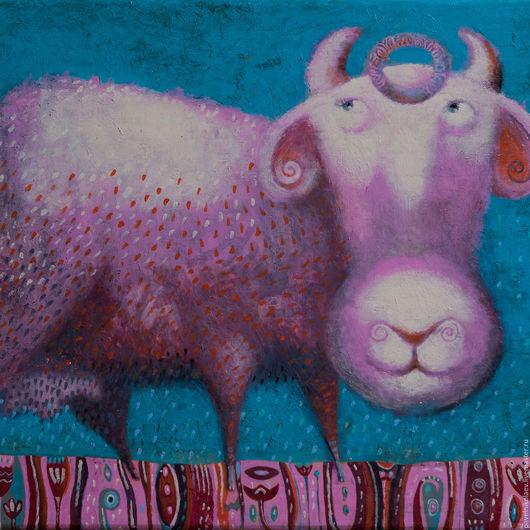 """Животные ручной работы. Ярмарка Мастеров - ручная работа. Купить """"Коровушка"""",  авторская печать. Handmade. Фуксия, готический наив, теленок"""