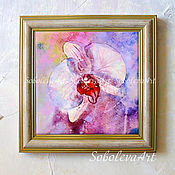 Картины и панно handmade. Livemaster - original item Panels with Orchid Picture White Orchid Flowers Pattern Buy Painting. Handmade.