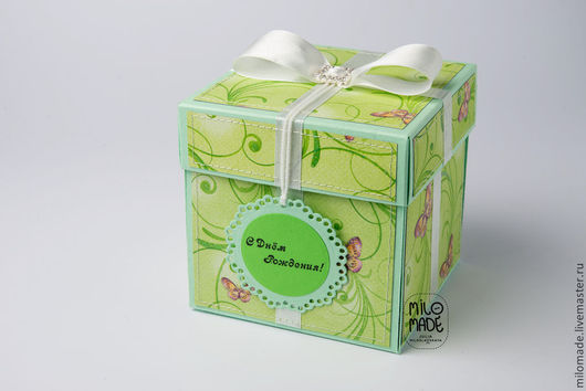 """Открытки на день рождения ручной работы. Ярмарка Мастеров - ручная работа. Купить Открытка-коробочка """"Зеленое яблоко"""". Handmade. Зеленый"""