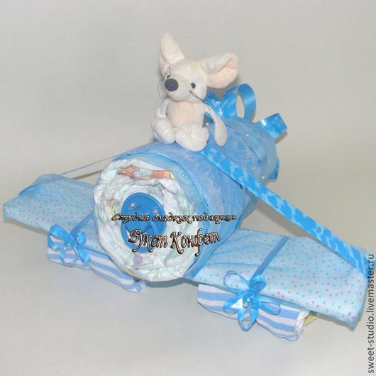 """Подарки для новорожденных, ручной работы. Ярмарка Мастеров - ручная работа. Купить Подарок из памперсов """"Самолет"""""""". Handmade. Голубой, памперсный торт"""