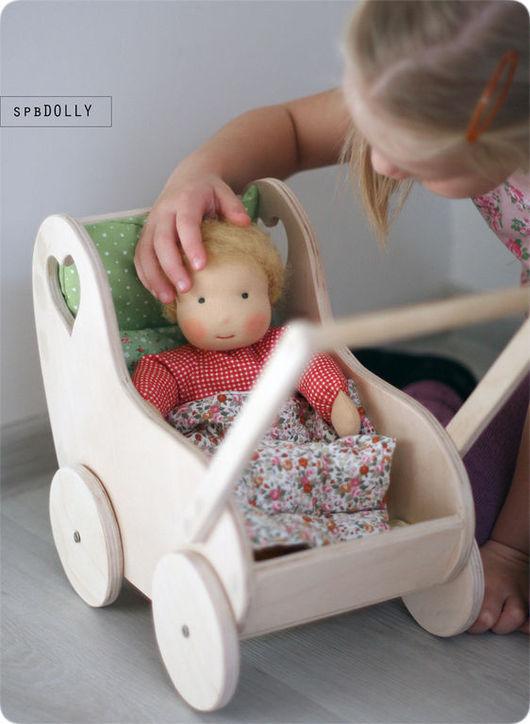 Кукольный дом ручной работы. Ярмарка Мастеров - ручная работа. Купить Натура (миди) - коляска деревянная для вальдорфской куклы. Handmade.