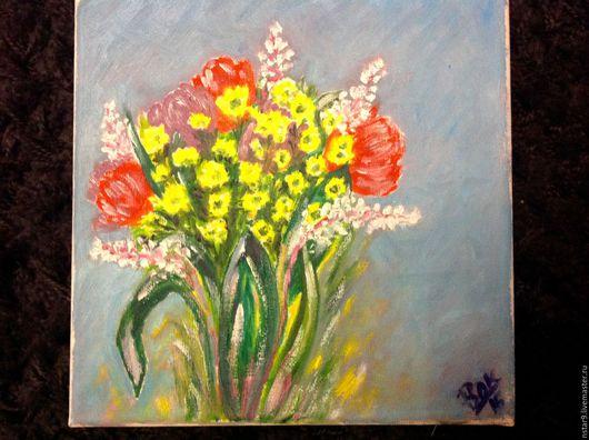 Картины цветов ручной работы. Ярмарка Мастеров - ручная работа. Купить Весной. Масло. Холст на подрамнике.. Handmade. Желтый