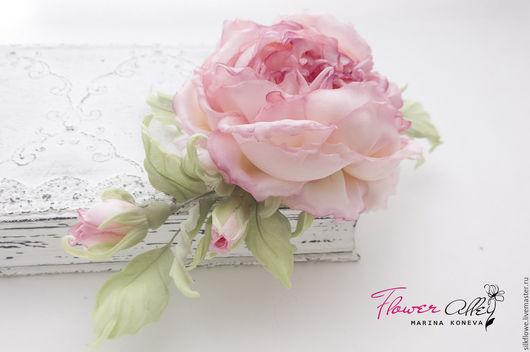 """Цветы ручной работы. Ярмарка Мастеров - ручная работа. Купить Роза из шелка """"Живерни"""" заколка-брошь. Цветы из шелка - ткани.. Handmade."""