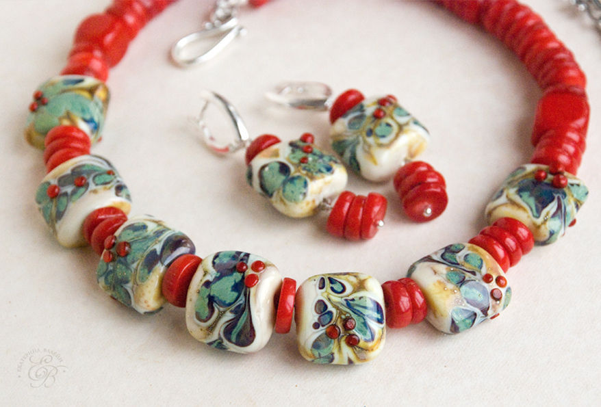 'Coral Christmas': necklace and earrings, Jewelry Sets, St. Petersburg,  Фото №1