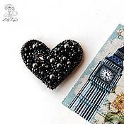 Украшения handmade. Livemaster - original item The black heart brooch, bead embroidery.. Handmade.