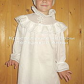 Работы для детей, handmade. Livemaster - original item Baptismal shirt for a girl with a yoke 667. Handmade.