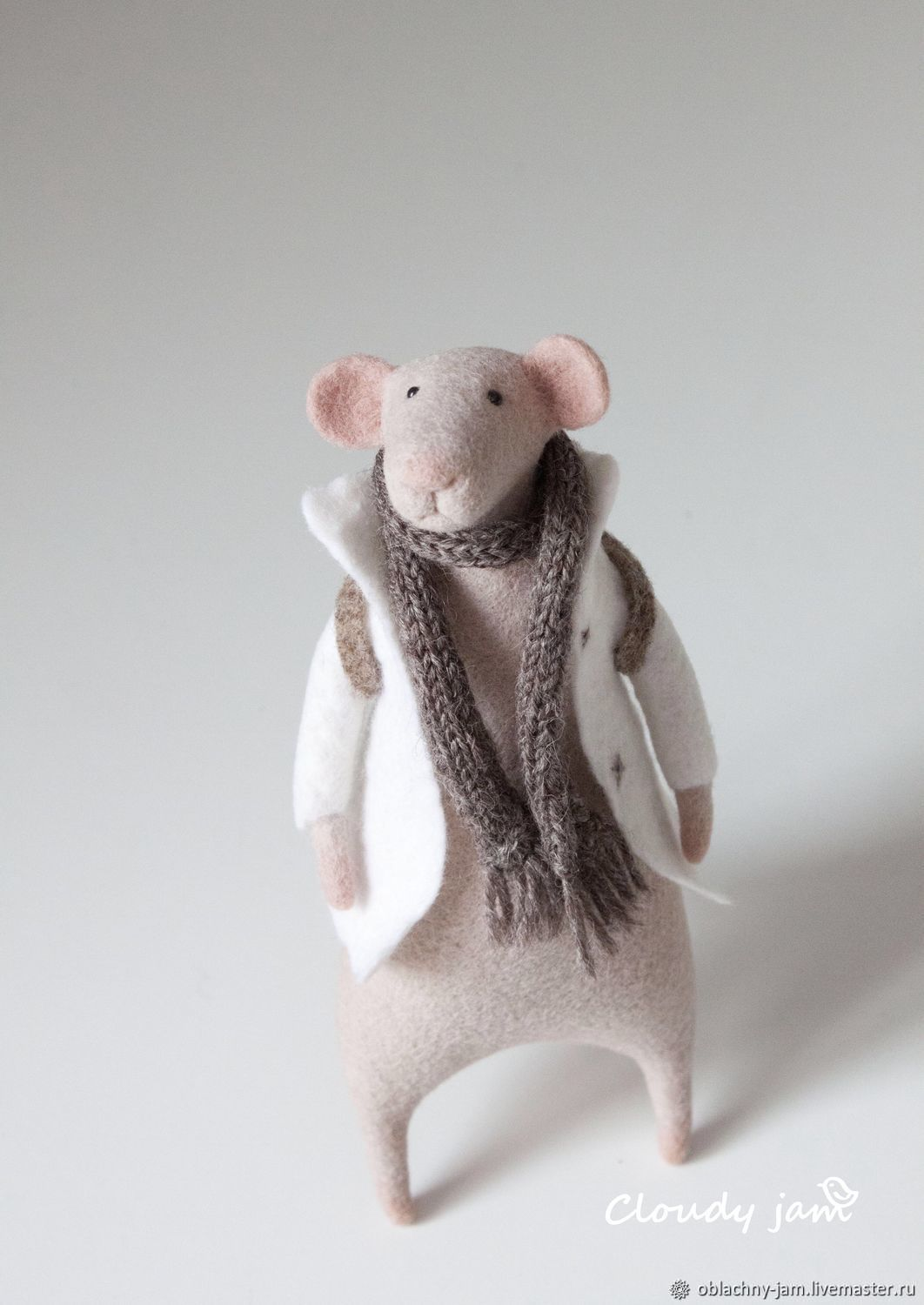 Mouse Traveler felt toy (white pink wool), Felted Toy, Ekaterinburg,  Фото №1