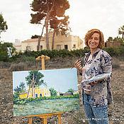 Pictures handmade. Livemaster - original item Oil painting. Summer. HOUSES. Spanish house.. Handmade.