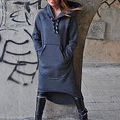 Одежда handmade. Livemaster - original item Warm tunic made of thick cotton hooded - DR0707W3. Handmade.