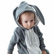 Работы для детей, handmade. Livemaster - original item Romper baby Rabbit BUNNY Grey GRAY FUNKY HOMESUIT KIDS. Handmade.
