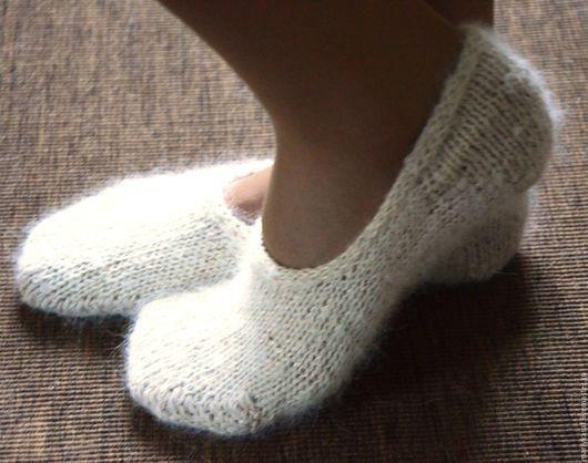 Носки, Чулки ручной работы. Ярмарка Мастеров - ручная работа. Купить Следки собачья шерсть+лен. Handmade. Белый