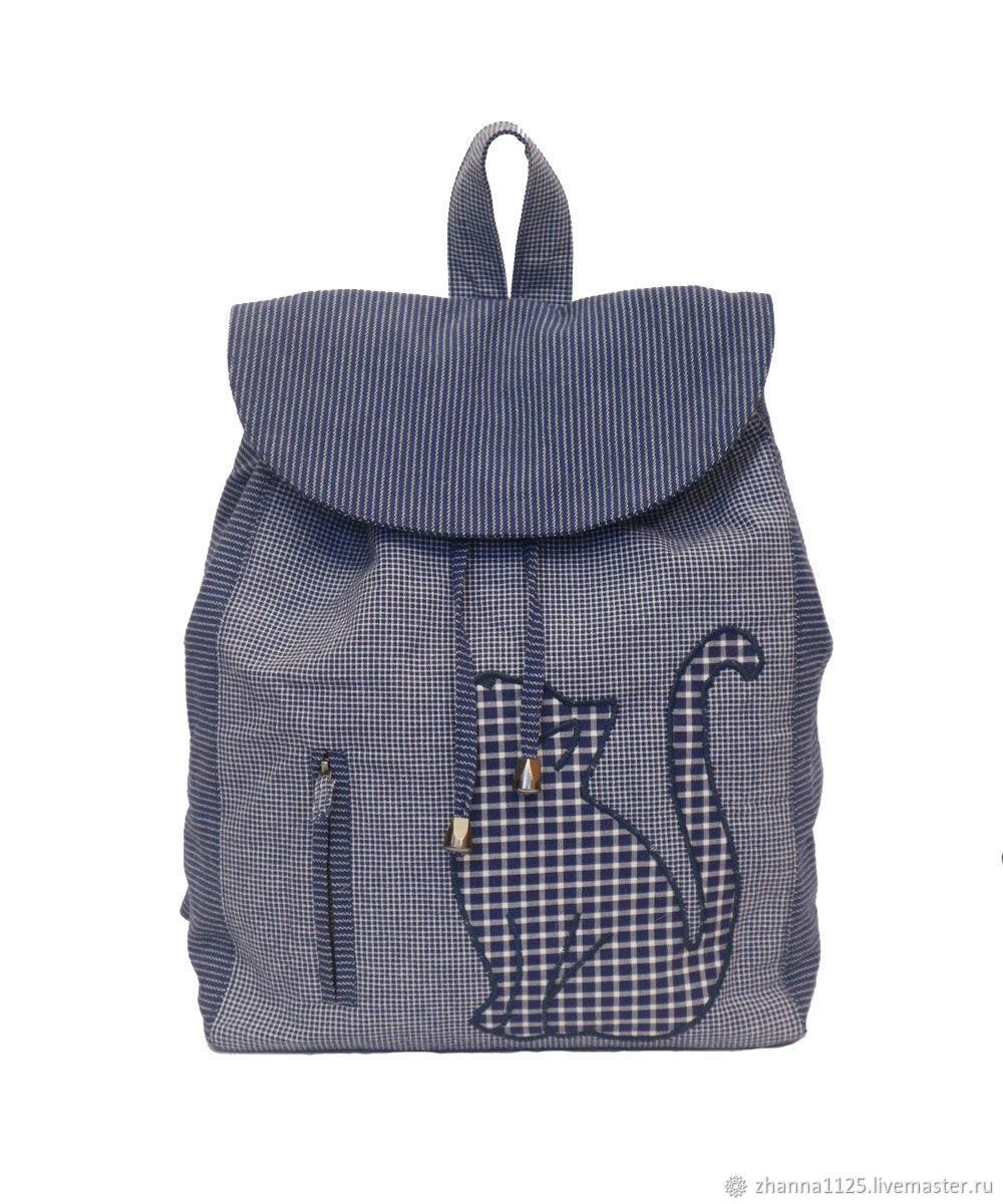 Рюкзаки ручной работы. Ярмарка Мастеров - ручная работа. Купить Текстильный рюкзак с апликацией 'Кошечка'. Handmade. Рюкзак, клетка, полоска