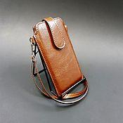 Сумки и аксессуары handmade. Livemaster - original item Phone case with wrist strap and pull tab genuine leather.. Handmade.