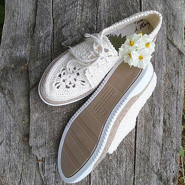 Обувь ручной работы. Ярмарка Мастеров - ручная работа Мокасины: белый лён. Handmade.