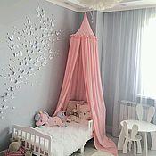 """Балдахин для кроватки ручной работы. Ярмарка Мастеров - ручная работа Нежно-розовый балдахин """" с рюшей """"Анэтта""""/ Шатёр в детскую колыбель. Handmade."""