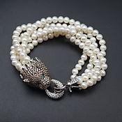 Украшения handmade. Livemaster - original item Bracelet with natural white pearls, 925 sterling silver lock. Handmade.