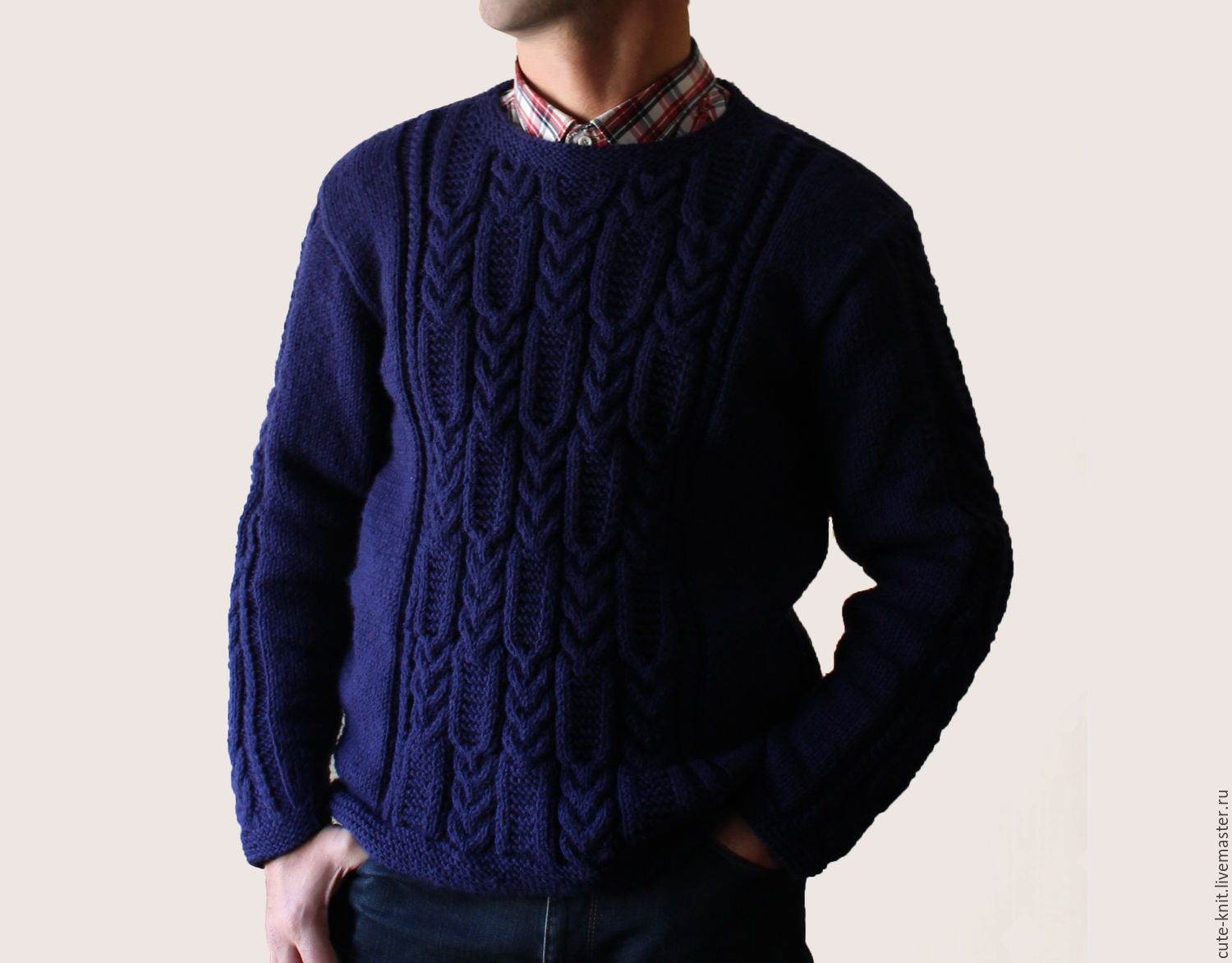 Men\u0027s sweater blue with embossed pattern. To better visualize the  model, click on the photo. CUTE,KNIT NAT Onipchenko