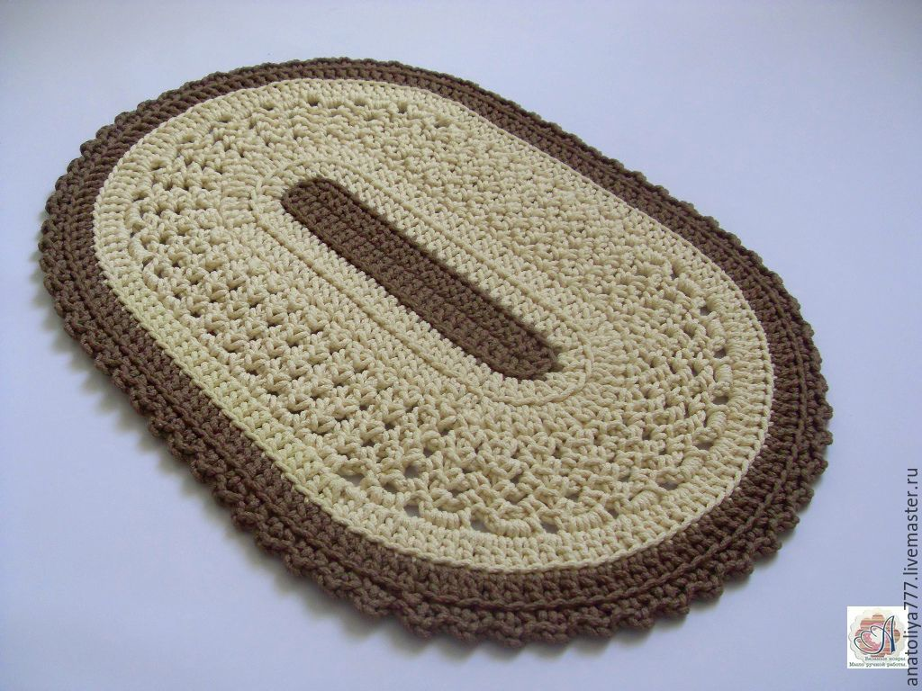 An oval rug is crocheted of cord included, Carpets, Kabardinka,  Фото №1
