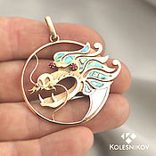 Украшения handmade. Livemaster - original item Golden dragon pendant. Gold, mother of pearl, rubies.. Handmade.
