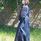 Одежда ручной работы. Ярмарка Мастеров - ручная работа Синее Длинное платье вышитое  в технике ришелье Платье в пол Летнее. Handmade.