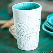 Посуда ручной работы. Ярмарка Мастеров - ручная работа Керамический стакан белый. Кружевная серия. Handmade.
