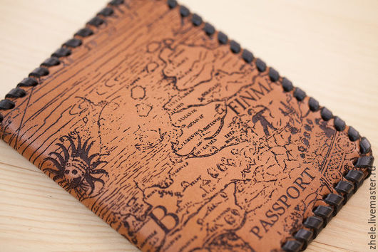 """Обложки ручной работы. Ярмарка Мастеров - ручная работа. Купить Обложка для паспорта """"Карта"""" из кожи. Handmade. Коричневый, кожа"""