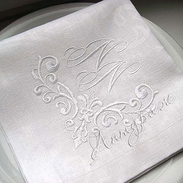 Для дома и интерьера ручной работы. Ярмарка Мастеров - ручная работа Свадебные салфетки с вышивкой 4264 Свадебный вензель. Handmade.
