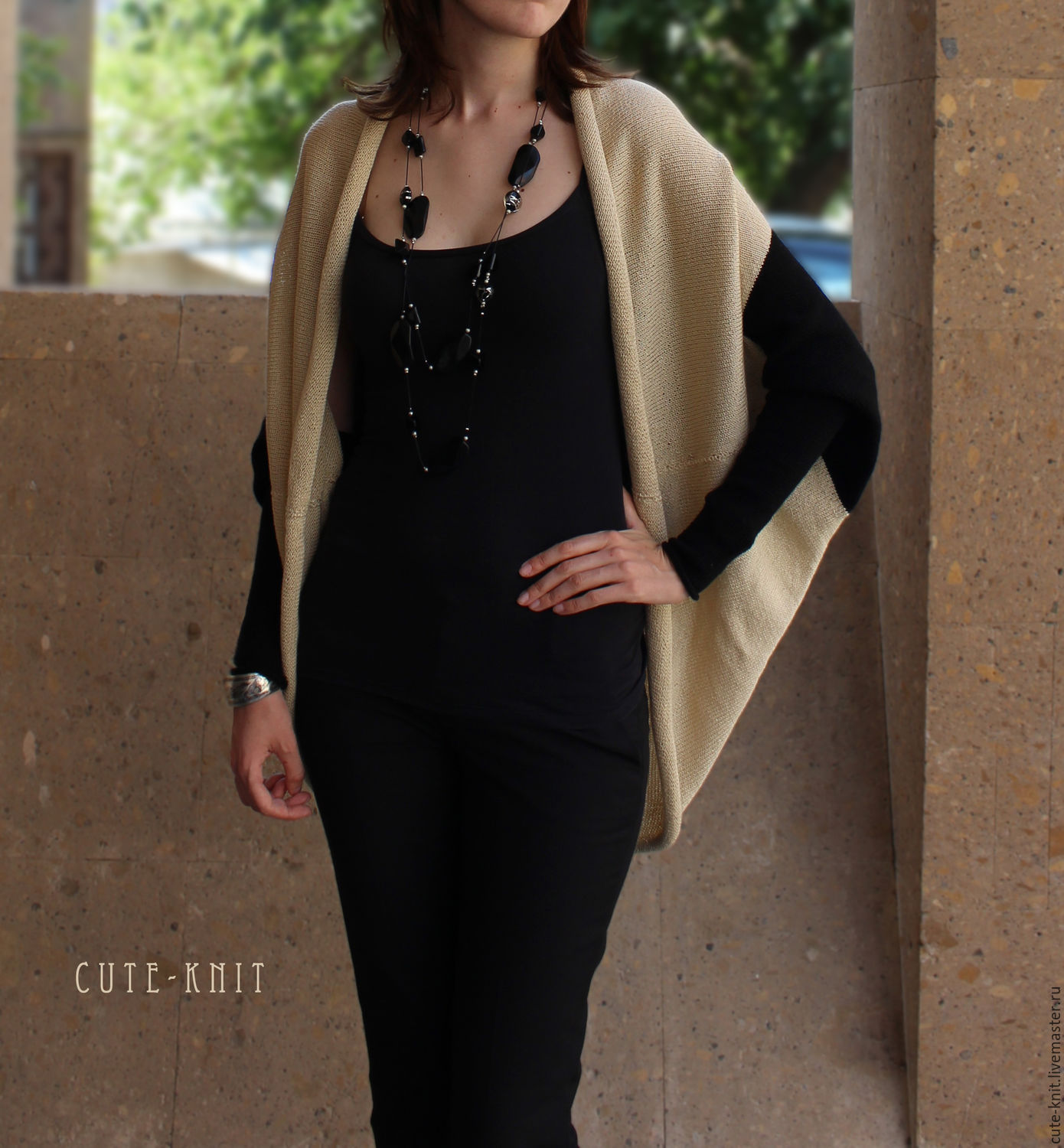 To better visualize the model, click on the photo CUTE-KNIT NAT Onipchenko Fair masters to Buy women's summer knit Cape with sleeves