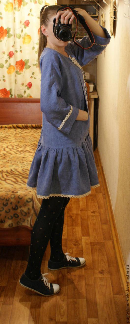 Платья ручной работы. Ярмарка Мастеров - ручная работа. Купить Льняное платье-кенгуру. Handmade. Васильковый, с цельнокроеным рукавом