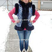 """Одежда ручной работы. Ярмарка Мастеров - ручная работа Жилетка с капюшоном """"Морозко""""синий. Handmade."""