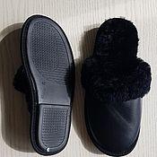 Обувь ручной работы handmade. Livemaster - original item Black sheepskin leather Slippers. Handmade.