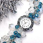 handmade. Livemaster - original item Watch from opalite, snow quartz and cat`s eye