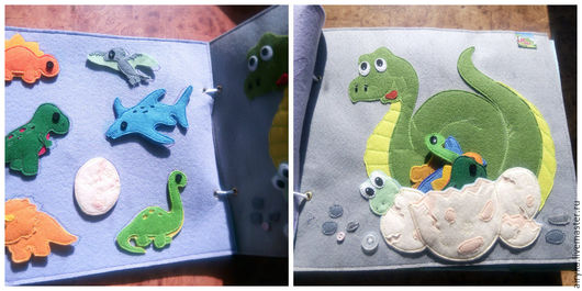 Справа у мамы-динозавра карман в виде нескольких яиц, в них прячутся фигурки динозавров, слева- вышиты контура, нужно разложить по соответствующим местам.