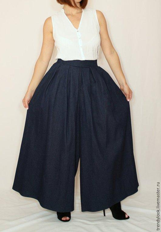 Брюки, шорты ручной работы. Ярмарка Мастеров - ручная работа. Купить Темно-синие джинсовые брюки, широкие штаны, юбка-брюки. Handmade.