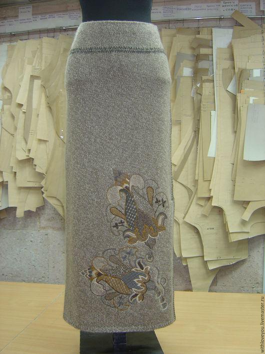 """Юбки ручной работы. Ярмарка Мастеров - ручная работа. Купить Юбка с вышивкой в стиле """"Кюит""""(якобинская вышивка). Handmade. Коричневый"""