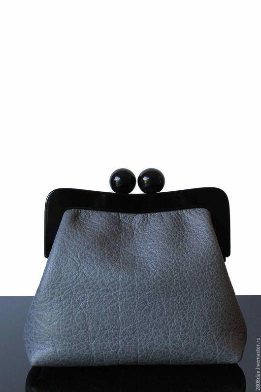 Женские сумки ручной работы. Ярмарка Мастеров - ручная работа. Купить Кожаный серый клатч, большой клатч, серая сумка, серый. Handmade.