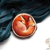 """Украшения ручной работы. Ярмарка Мастеров - ручная работа Брошь """"Спящий Лис"""". Handmade."""